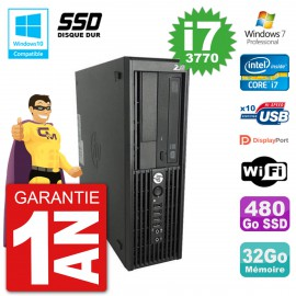 PC HP WorkStation Z220 SFF Core i7-3770 RAM 32Go SSD 480Go Graveur DVD Wifi W7
