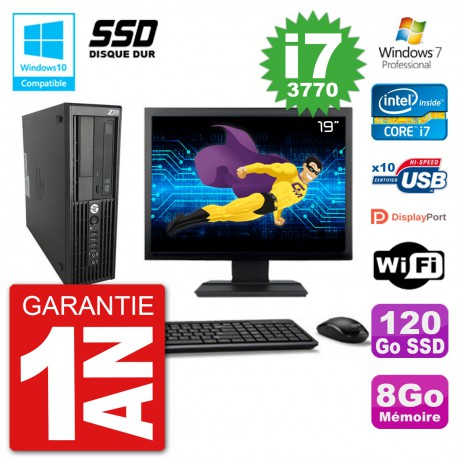 "PC HP Z220 SFF Ecran 19"" Core i7-3770 RAM 8Go SSD 120Go Graveur DVD Wifi W7"