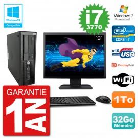 "PC HP Z220 SFF Ecran 19"" Core i7-3770 RAM 32Go Disque 1To Graveur DVD Wifi W7"
