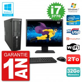 "PC HP Z220 SFF Ecran 19"" Core i7-3770 RAM 32Go Disque 2To Graveur DVD Wifi W7"