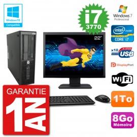 "PC HP Z220 SFF Ecran 22"" Core i7-3770 RAM 8Go Disque 1To Graveur DVD Wifi W7"