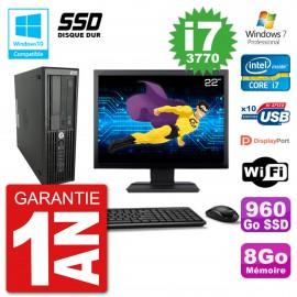 "PC HP Z220 SFF Ecran 22"" Core i7-3770 RAM 8Go SSD 960Go Graveur DVD Wifi W7"