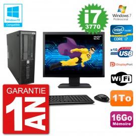 "PC HP Z220 SFF Ecran 22"" Core i7-3770 RAM 16Go Disque 1To Graveur DVD Wifi W7"
