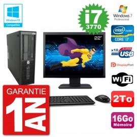"PC HP Z220 SFF Ecran 22"" Core i7-3770 RAM 16Go Disque 2To Graveur DVD Wifi W7"