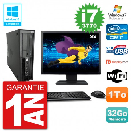 "PC HP Z220 SFF Ecran 22"" Core i7-3770 RAM 32Go Disque 1To Graveur DVD Wifi W7"