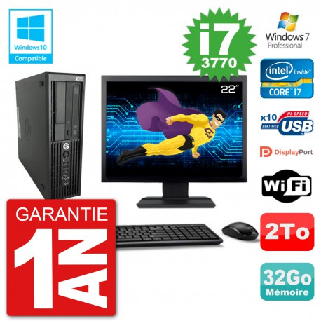 "PC HP Z220 SFF Ecran 22"" Core i7-3770 RAM 32Go Disque 2To Graveur DVD Wifi W7"