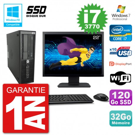 "PC HP Z220 SFF Ecran 22"" Core i7-3770 RAM 32Go SSD 120Go Graveur DVD Wifi W7"