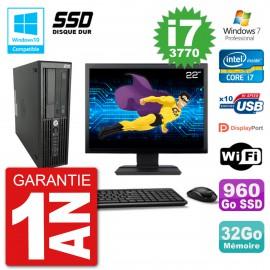 "PC HP Z220 SFF Ecran 22"" Core i7-3770 RAM 32Go SSD 960Go Graveur DVD Wifi W7"