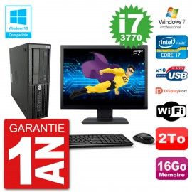 "PC HP Z220 SFF Ecran 27"" Core i7-3770 RAM 16Go Disque 2To Graveur DVD Wifi W7"