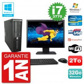 "PC HP Z220 SFF Ecran 27"" Core i7-3770 RAM 32Go Disque 2To Graveur DVD Wifi W7"