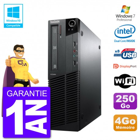 PC Lenovo ThinkCentre M82 SFF G640 RAM 4Go Disque Dur 250Go Graveur DVD Wifi W7