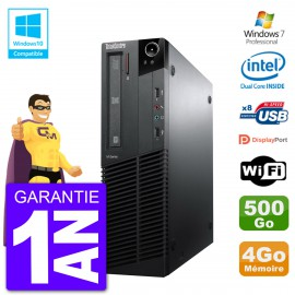 PC Lenovo ThinkCentre M82 SFF G640 RAM 4Go Disque Dur 500Go Graveur DVD Wifi W7