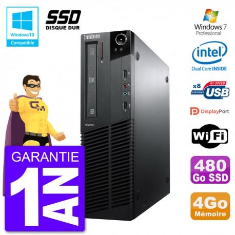 PC Lenovo ThinkCentre M82 SFF G640 RAM 4Go SSD 480Go Graveur DVD Wifi W7