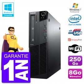 PC Lenovo ThinkCentre M82 SFF G640 RAM 8Go Disque Dur 250Go Graveur DVD Wifi W7
