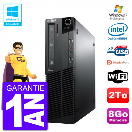 PC Lenovo ThinkCentre M82 SFF G640 RAM 8Go Disque Dur 2To Graveur DVD Wifi W7