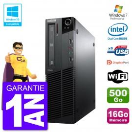 PC Lenovo ThinkCentre M82 SFF G640 RAM 16Go Disque Dur 500Go Graveur DVD Wifi W7
