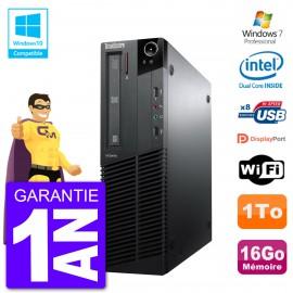 PC Lenovo ThinkCentre M82 SFF G640 RAM 16Go Disque Dur 1To Graveur DVD Wifi W7