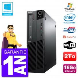 PC Lenovo ThinkCentre M82 SFF G640 RAM 16Go Disque Dur 2To Graveur DVD Wifi W7