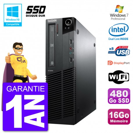 PC Lenovo ThinkCentre M82 SFF G640 RAM 16Go SSD 480Go Graveur DVD Wifi W7