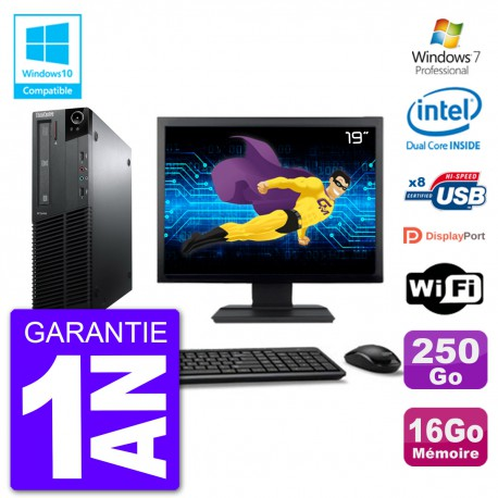 """PC Lenovo M82 SFF Ecran 19"""" G640 RAM 16Go Disque 250Go Graveur DVD Wifi W7"""