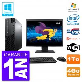 """PC Lenovo M82 SFF Ecran 22"""" G640 RAM 4Go Disque 1To Graveur DVD Wifi W7"""