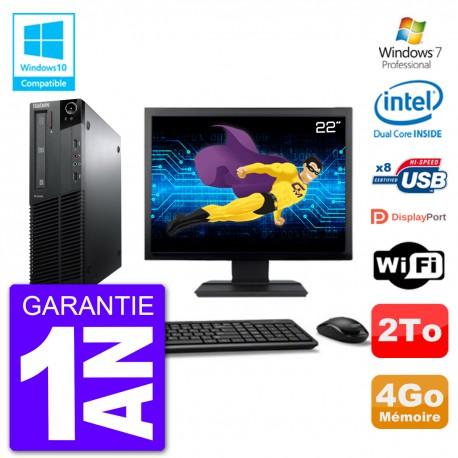 """PC Lenovo M82 SFF Ecran 22"""" G640 RAM 4Go Disque 2To Graveur DVD Wifi W7"""
