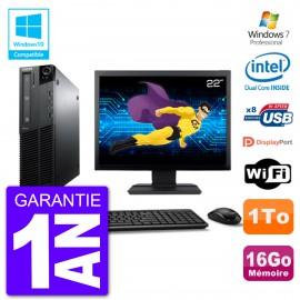 """PC Lenovo M82 SFF Ecran 22"""" G640 RAM 16Go Disque 1To Graveur DVD Wifi W7"""
