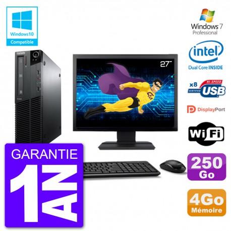 """PC Lenovo M82 SFF Ecran 27"""" G640 RAM 4Go Disque 250Go Graveur DVD Wifi W7"""