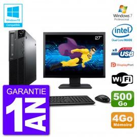 """PC Lenovo M82 SFF Ecran 27"""" G640 RAM 4Go Disque 500Go Graveur DVD Wifi W7"""