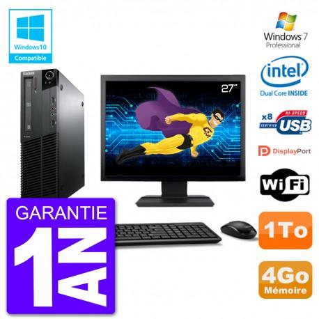 """PC Lenovo M82 SFF Ecran 27"""" G640 RAM 4Go Disque 1To Graveur DVD Wifi W7"""