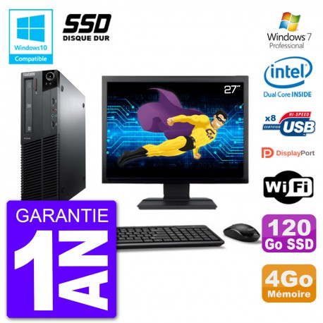 "PC Lenovo M82 SFF Ecran 27"" G640 RAM 4Go SSD 120Go Graveur DVD Wifi W7"