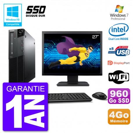 "PC Lenovo M82 SFF Ecran 27"" G640 RAM 4Go SSD 960Go Graveur DVD Wifi W7"