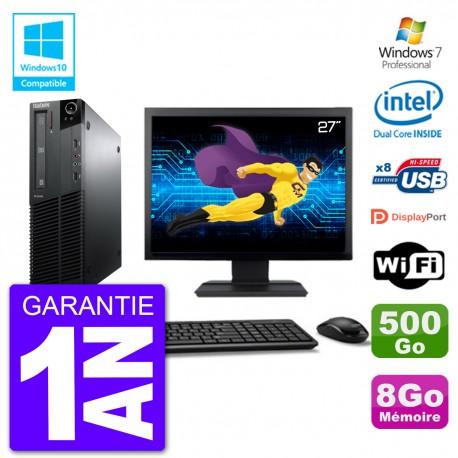 """PC Lenovo M82 SFF Ecran 27"""" G640 RAM 8Go Disque 500Go Graveur DVD Wifi W7"""