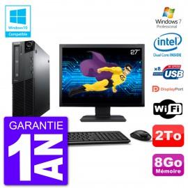 """PC Lenovo M82 SFF Ecran 27"""" G640 RAM 8Go Disque 2To Graveur DVD Wifi W7"""