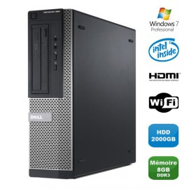 PC DELL Optiplex 390 DT G630 2.7Ghz 8Go 2000Go Graveur DVD WIFI HDMI Win 7 Pro