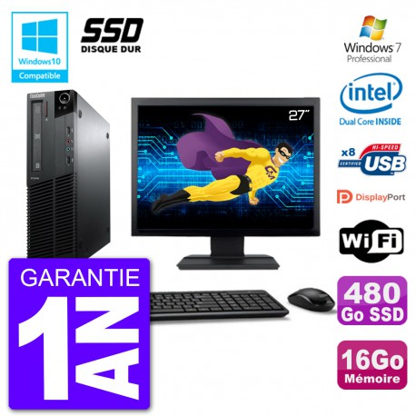 "PC Lenovo M82 SFF Ecran 27"" G640 RAM 16Go SSD 480Go Graveur DVD Wifi W7"