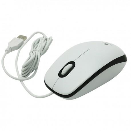 Souris Filaire USB Logitech M100 M-U0003 810-001648 1000DPI 3 Boutons Blanc Gris