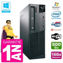 PC Lenovo ThinkCentre M82 SFF G2020 RAM 16Go Disque Dur 500Go Graveur DVD Wifi W7