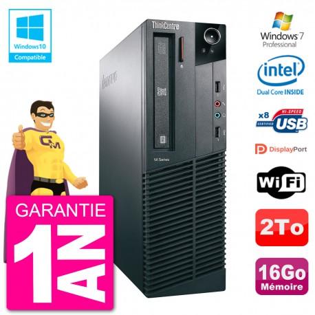 PC Lenovo ThinkCentre M82 SFF G2020 RAM 16Go Disque Dur 2To Graveur DVD Wifi W7