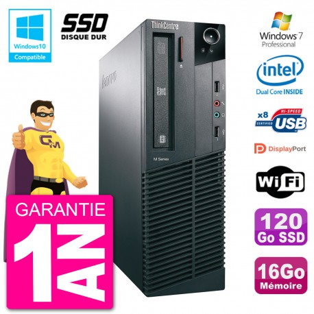 PC Lenovo ThinkCentre M82 SFF G2020 RAM 16Go SSD 120Go Graveur DVD Wifi W7