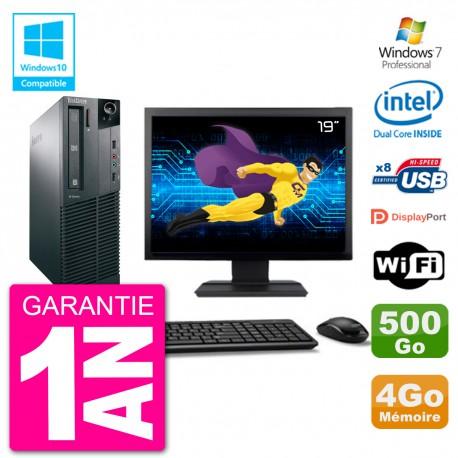 """PC Lenovo M82 SFF Ecran 19"""" G2020 RAM 4Go Disque 500Go Graveur DVD Wifi W7"""