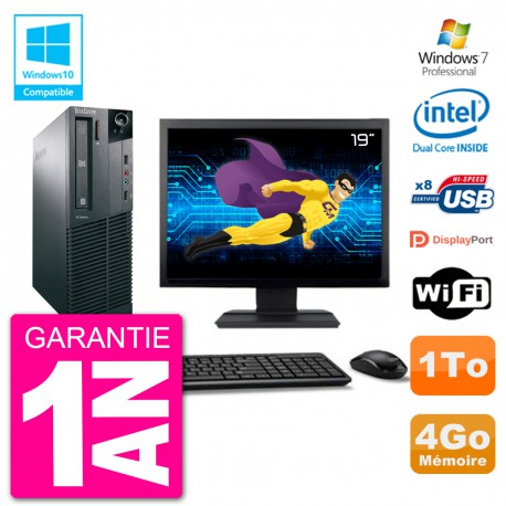 """PC Lenovo M82 SFF Ecran 19"""" G2020 RAM 4Go Disque 1To Graveur DVD Wifi W7"""