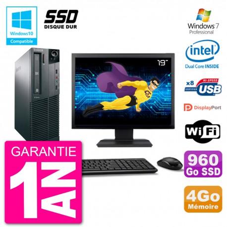 "PC Lenovo M82 SFF Ecran 19"" G2020 RAM 4Go SSD 960Go Graveur DVD Wifi W7"