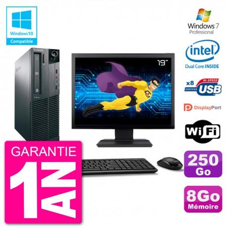 """PC Lenovo M82 SFF Ecran 19"""" G2020 RAM 8Go Disque 250Go Graveur DVD Wifi W7"""