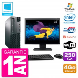 """PC Lenovo M82 SFF Ecran 22"""" G2020 RAM 4Go Disque 250Go Graveur DVD Wifi W7"""