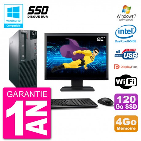 "PC Lenovo M82 SFF Ecran 22"" G2020 RAM 4Go SSD 120Go Graveur DVD Wifi W7"
