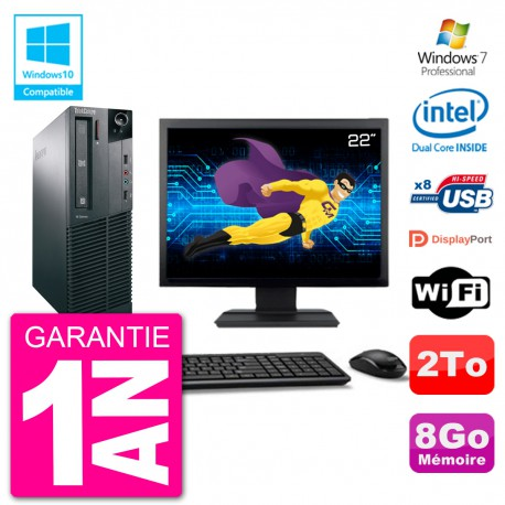 """PC Lenovo M82 SFF Ecran 22"""" G2020 RAM 8Go Disque 2To Graveur DVD Wifi W7"""