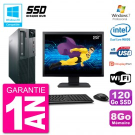 "PC Lenovo M82 SFF Ecran 22"" G2020 RAM 8Go SSD 120Go Graveur DVD Wifi W7"