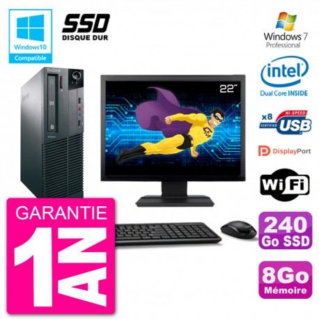 "PC Lenovo M82 SFF Ecran 22"" G2020 RAM 8Go SSD 240Go Graveur DVD Wifi W7"
