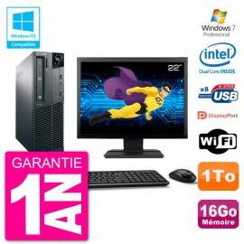 """PC Lenovo M82 SFF Ecran 22"""" G2020 RAM 16Go Disque 1To Graveur DVD Wifi W7"""